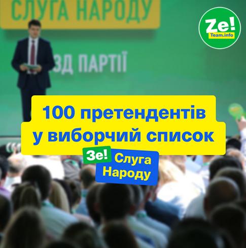 На з'їзді партії Слуга Народу було названо сотню претендентів у виборчий список